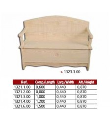 Banco arca com braços em pinho maciço