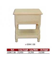Mesa cabeceira 1 gaveta 1 prateleira em madeira maciça.